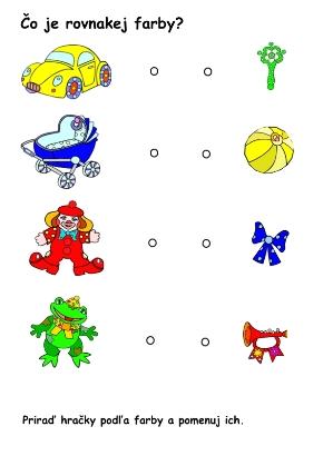 hračky a predmety _pracovný list_čo je rovnakej farby