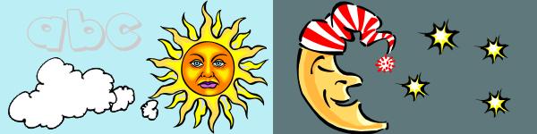 De� a noc - slnko, mesiac a hviezdy