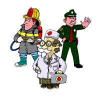 práca a činnosti ľudí, policajt, požiarnik, lekár