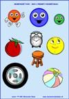 Geometrické tvary – Kruh - predmety podobné kruhu - farby a tvary - farebná predloha