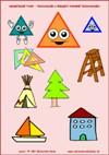 Geometrické tvary – Trojuholník - predmety podobné trojuholníku  - farby a tvary - farebná predloha