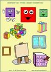 Geometrické tvary - Štvorec - predmety podobné štvorcu - farby a tvary - farebná predloha