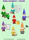 Sedem trpaslíkov - remeslá – slovná zásoba, matematika, farby - farebný pracovný list pre mš