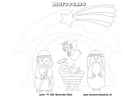Maľovanka Mária, Jozef a Jezuliatko – dokresli a vyfarbi, slovná zásoba, grafomotorika - pracovný list pre mš