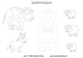 Maľovanka Pastier a zvieratká  – dokresli a vyfarbi, slovná zásoba, grafomotorika - pracovný list pre mš