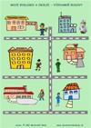 Moje bydlisko a okolie - Významné budovy  - farebný pracovný list z ABC materské školy