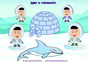 Iglu a Eskimáci - farebná predloha na Interaktívnu tabuľu z ABC pre materské školy