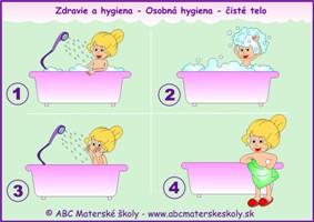 dravie a hygiena - osobná hygiena - čisté telo - farebná predloha ABC materská škola