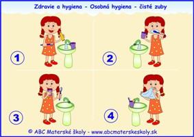 dravie a hygiena - osobná hygiena - čisté zuby - farebná predloha ABC materská škola