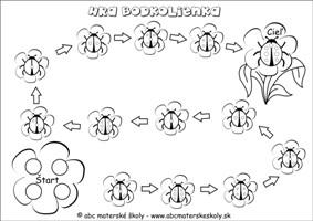 Bodkolienka - hra podklad - Matematika, logika, priestorová orientácia - pracovný list pre mš
